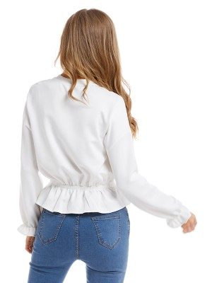 Luscious Curvy White Ruffled Shirt Solid Color Full Sleeve
