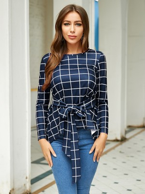 Simply Blue Tie Waist Blouse Plaid Round Neck Workout