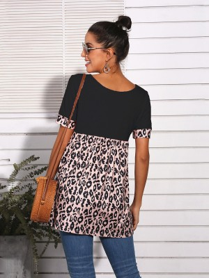 Inspired Black Leopard Splice Top V-Neck Short Sleeve Ladies