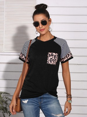 Dreamlike Black Stripe Patchwork Top Short Sleeves Soft-Touch
