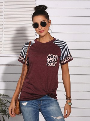 Online Wine Red Splicing Shirt Short Sleeves Knot Hem