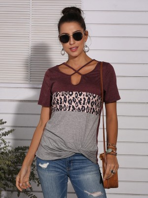 Marvelous  Wine Red Cross Straps T-Shirt Leopard Splicing