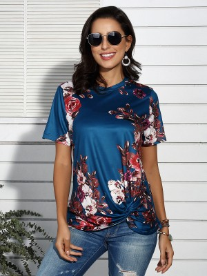 Dreamy Blue Round Neck Short Sleeves Top Knot Hem For Lady