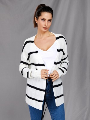 Innovative Stripe Print Cardigan Tie Waist Ladies Fashion