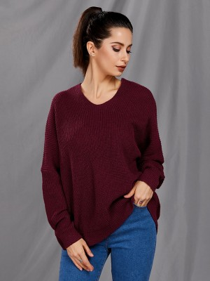 Trendy Wine Red V Collar Sweater Solid Color Snug Fit