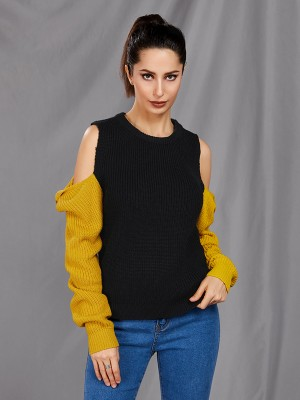 Alluring Black Patchwork Sweater Cold Shoulder Crew Neck Stretchy