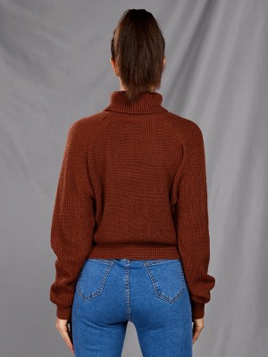 Classic High Neck Solid Color Sweater Free Time