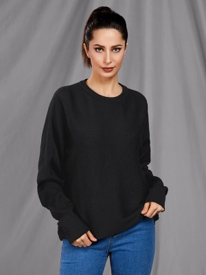 Glorious Black Round Collar Long Sleeve Sweater Women Fashion Style