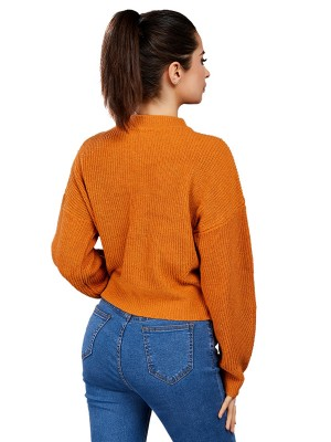 Pleasant Light Tan Crew Neck Drop Shoulder Loose Sweater Relax Fit
