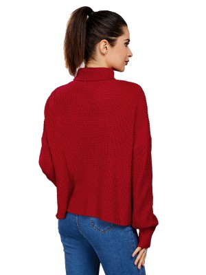 Natural Red Sweater High Collar Solid Color For Female