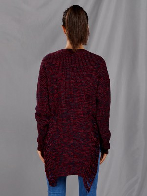Dull Red Hollow Out Side Slit Sweater V Neck Casual Women Clothes Online