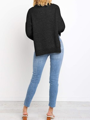 Flirtatious Black Solid Color Sweater High-Low Hem Wholesale