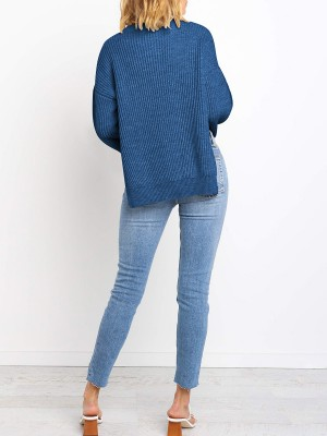 Simply Blue Flared Sleeve Solid Color Sweater Supper Fashion