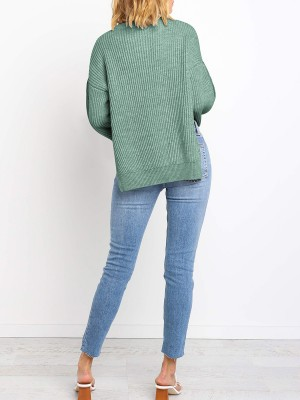Marvelous Green Crew Neck Side Slit Knit Sweater Ultra Sexy