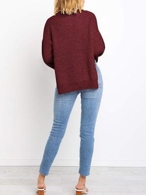 Modest Wine Red Button Sweater Knit Round Collar Fashion Shop Online