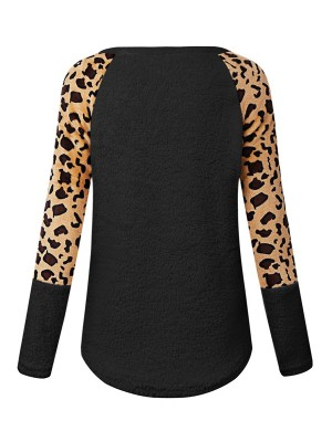 Flattering Black Leopard Print Long Sleeve Sweater Online Fashion