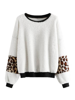 Noticeable Bishop Sleeve Sweater Leopard Print Women's Apparel