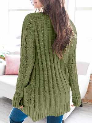 Abstract Army Green Solid Color Long Sleeve Knit Cardigan Fashion Shop Online