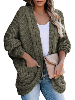 Loose Army Green Batwing Sleeves Knit Cardigan Open Front Leisure Time