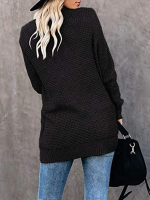 Sunkissed Black Curved Hem Long Sleeve Cardigan Latest Trends