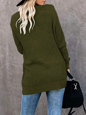Fetching Army Green Solid Color Knit Coat Full Sleeve Casual Women