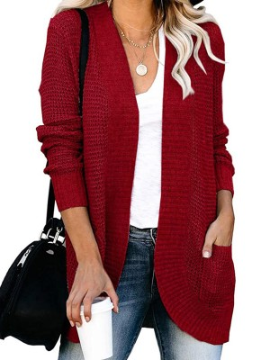 Simplicity Wine Red Pockets Knit Coat Open Front Solid Color Weekend Fashion
