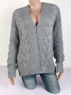 Soft-Touch Gray Drop Shoulder Full Sleeve Knit Coat For Work