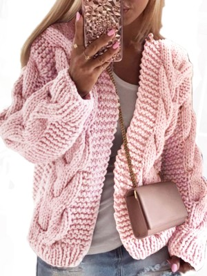 Graceful Light Purple Twist Knit Pattern Long Sleeve Cardigan Fashion Ideas