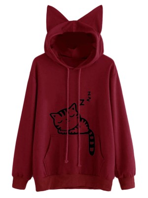 Brightly Wine Red Cat Ears Cartoon Hoodie Drawstring Slim