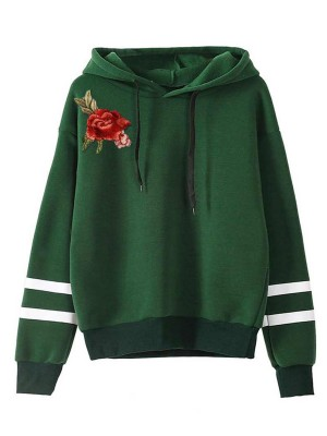 Best Price Green Sweatshirt Drawstring Contrast Color Feminine Charm