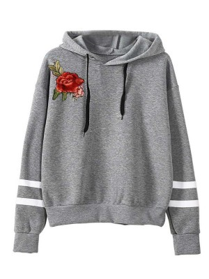 Cozy Gray Stripe Print Hooded Collar Sweatshirt Tops For Women