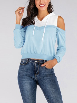 National Sky Blue Sweatshirt Rib Patchwork Drawstring For Vacation