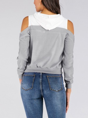 Characteristic Gray Long Sleeve Patchwork Sweatshirt Rib Fashion Style