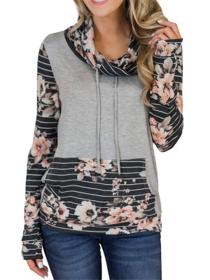 Form-Fitting Black High Neck Sweatshirt Floral Print Elegance