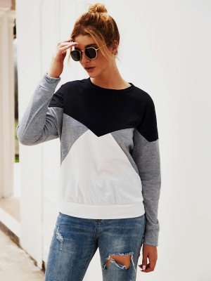 Dazzling Gray Crew Neck Sweatshirt Long Sleeve Great Quality