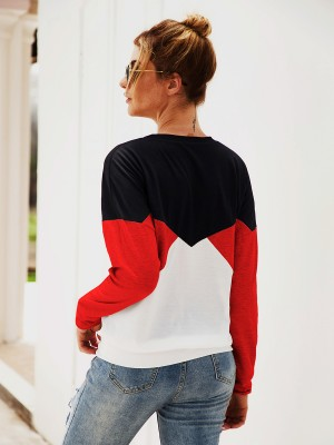 Comfy Red Contrast Color Crew Neck Sweatshirt Fashion For Women