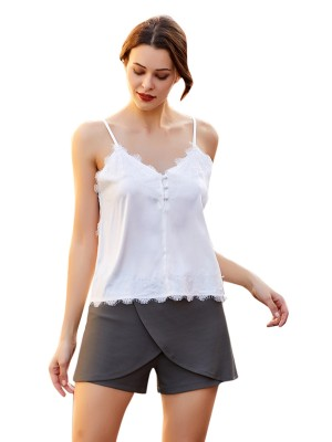 Delicate White V Collar Top Sling Lace Patchwork Cheap Wholesale