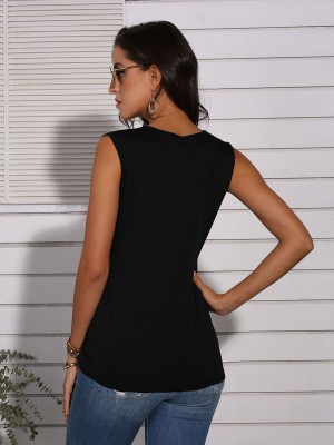 Classy Black Sleeveless Leopard Splicing Tank Top Casual