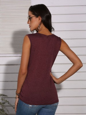 Mysterious Wine Red Sleeveless Pocket Top Leopard Splice