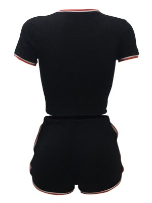 Super Faddish Black Solid Color T-Shirt And Sport Shorts