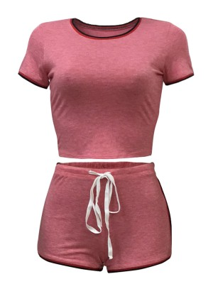Pink Sports Suit High Waist Short Sleeves Vacation Time