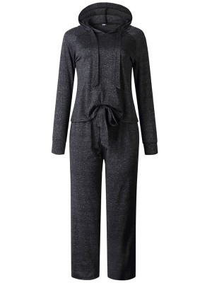 Retro Deep Gray Hooded Neck Top Suit Full-Length Womens Clothes