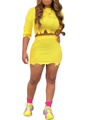 Flirtatious Yellow Ripped Trim Cropped Top And Skirt High Quality