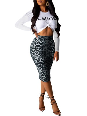 Sweet Gray Long Sleeves Top And Leopard Skirts Feminine Curve