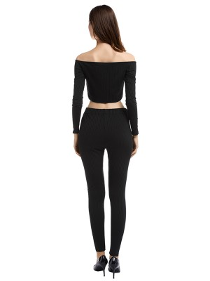 Slimming Black Cropped Top Drawstring Pants Rib Breath