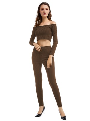 Eye-Catching Coffee Color One Shoulder Top High Waist Leggings For Party