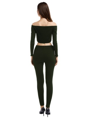 Enthusiastic Army Green Two-Piece Full Sleeve Ankle Length Shop Online