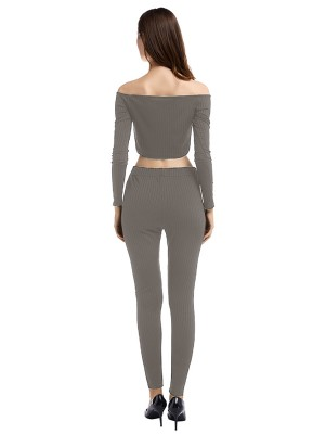 Slouchy Gray 2 Pieces Long Sleeve Solid Color Fashion Ideas