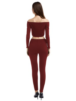 Wine Red Off Shoulder Top High Rise Leggings Womens Latest Clothes