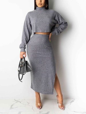 Delightful Gray High Neck Top Maxi Length Skirt Outfit